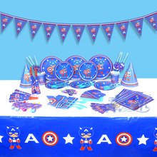 84pcs Captain America theme Paper plate cup napkin tablecloth forks mask for 6 Kids to use Party Tableware Decoration