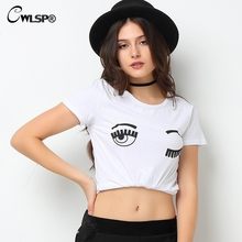 CWLSP Fashion Summer Women T-Shirts Chiara Ferragni Big Eyes Printed Loose T Shirts Woman Casual Tee Tops QA1170 - Give Me 5 Store store