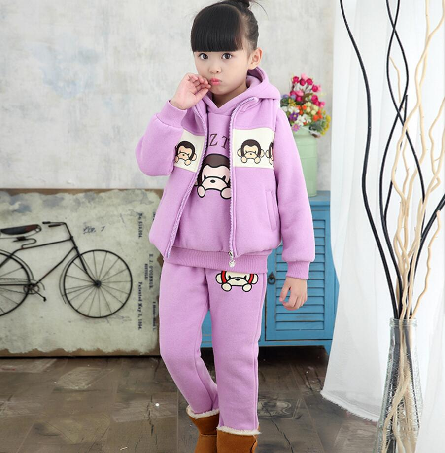 Girl s clothing children s autumn and winter clothes  monkey 2-10 year old children s suit thickening three piece sets HB2038<br>