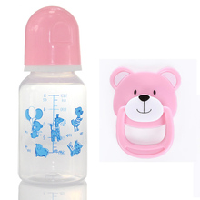 Pink Blue Bear Magnetic Pacifier Bottle For Boy Reborn Babies Gift Silicone Baby Doll Accessories