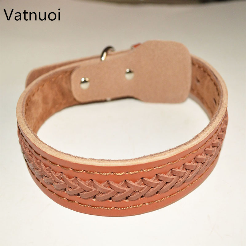 "New Brand Durable Genuine Leather Dog Pet Collar for Medium And Large dog neck for 14""~23""(China)"