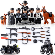 6pcs/lot Military World War II Weapon Soldier WW2 SWAT Building Blocks Sets Model Bricks Toys for Children Doll D71009