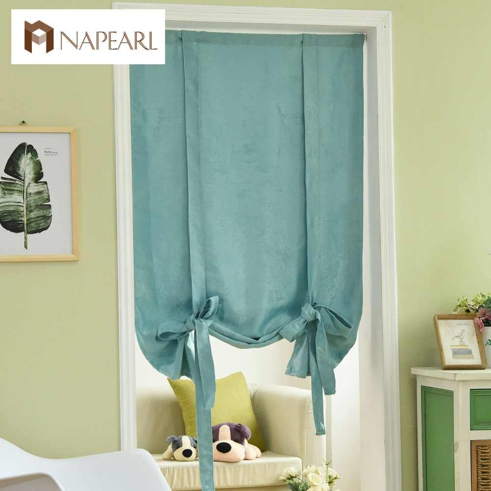 Roman Blinds Short kitchen curtains blackout thick ready made rod pocket door brown blue green tie up balloon curtains solid
