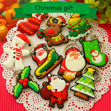 2Pcs Funny Popular Key Ring Santa Claus PVC Father Christmas Tree Christmas Key Chain For Decoration Gift