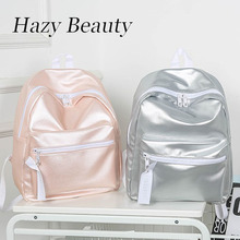Hazy beauty mirror pu leather women fashion backpack bling shinning brand design young lady like school bag girls hand bag dh910