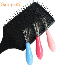 Saingace New Hair Brush Comb Cleaner Embedded Tool Plastic Cleaning Removable Handle U6913 DROP SHIP