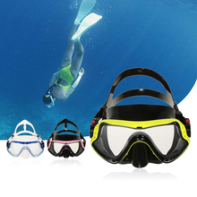 UV400 Protection Anti-fog Diving Mask Single Window Snorkeling Mask Scuba Swimming Goggle Tempered Glass Lens Silicone Frame(China)