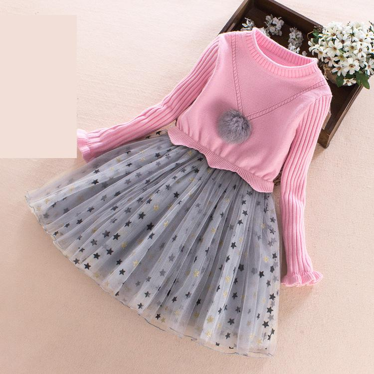 2017 New Kids Sweater Dress Spring Autumn Winter Girls Long Warm Fashion Princess Dress Toddler Girls Clothes 6 7 8 9 10 11 12 T<br>