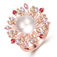 Rose Gold Colour Flower Pearl Ring for Women with Paved Micro Multicolor AAA Cubic Zircon Christmas Jewelry