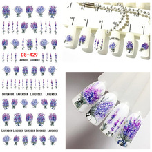 1 Sheet Lavender Flower Water Decals Purple Blooming Flower Nail Transfer Decals Nail Art Water Seal Water Slide 3d Decorations(China)