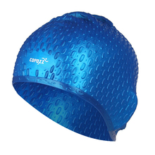 COPOZZ Silicon Swimming Hat Cover Protect Ear Long Hair Waterdrop Swimming Caps(blue)