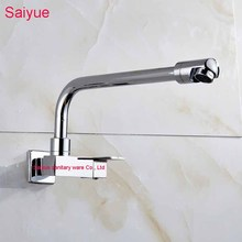 Long Pipe Chrome Spout Mixer Tap Single Cold 720 Degree Rotating Wall mouted Square Handle Kitchen Lavatory Vanity Sink Faucet