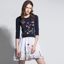 Knitted Patchwork Mini Dresses Fashion Half Sleeve 2017 Early Autumn Flowers Embroidery High-end Above Knee Designer Dress