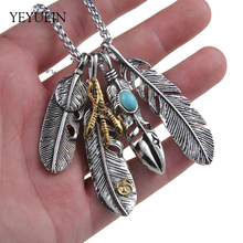 Trendy Alloy Blue Stone Feather Talon Pendant Necklace For Women Men Animal Hawk Feather Sweater Chain Pendant Necklace Gifts(China)