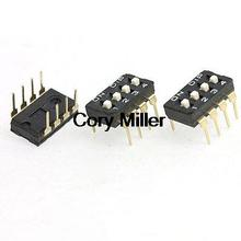 4 Position 2.54mm Pitch 8 Pin IC Type DIP Switch Black