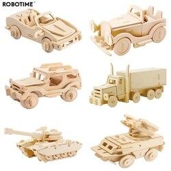Robotime DIY 3D деревянный автомобиль грузовик игра-головоломка дети естественный цвет игрушка модель строительные наборы Развивающие хобби под...