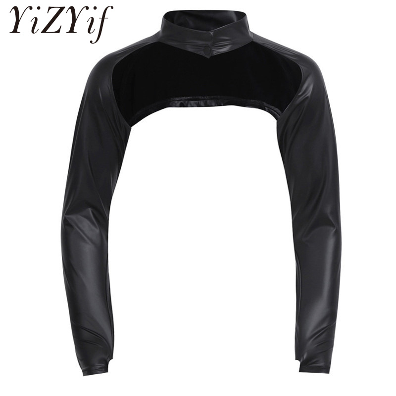 Men/'s Breathable Faux Leather Clubwear Fetish Long Arm Sleeves Open Front Shrug