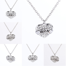 Families Long Necklace Heart  Imitation Diamonds Pendant Necklace Family Series Statement Necklace Christmas Gift