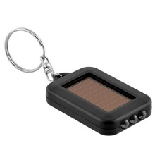 ABS Mini Portable Solar Power 3 LED Light Keychain Torch Light Flashlight Key Ring Gift Rechargeable Useful(China)