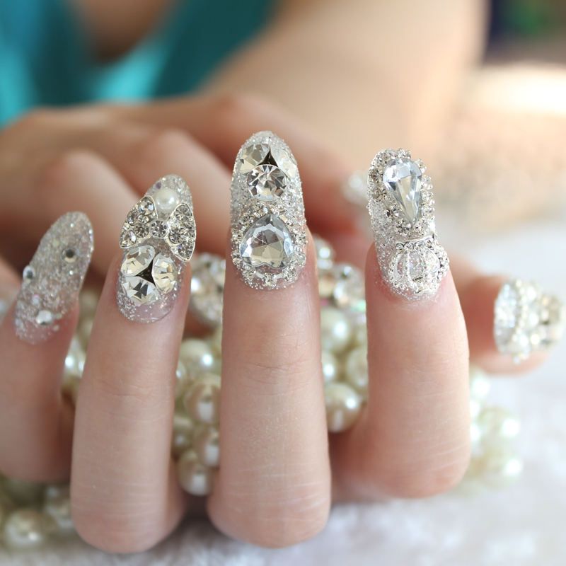 2017-24pcs-set-3D-False-Nails-Crystal-Rhinestone-Glitter-Tips-Bridal-Nail-Women-Wedding-Z008 (3)