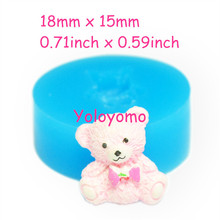 Free shipping D215YL 18mm Cute Bear Silicone Mold with Bow Cake Decoration Food Safe Gum Paste Soap Butter Sugar Nougat Mould