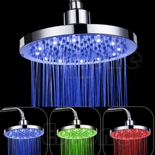 "8"" inch Round Rain Stainless Steel Bathroom RGB LED Light Shower Head Nice Gifts -B119"