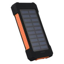 15000mAh Large Capacity  Solar Power Bank Dual USB Compact Waterproof  LED Light External Battery Charger With Hook