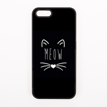 Minimalist art cat meow pets Hard Back Cover Phone Case For iphone 4 4s 5 5s 5c se 6 6S plus 7 7 Plus case unique design
