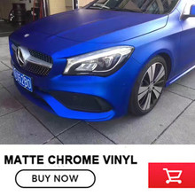 Hot Sale Colored Car Vinyl Wrap Matte Chrome Blue Metallic size:1.52*20m blue Matt chrome Vinyl No Residual Glue(China)