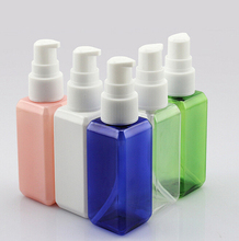 10 pcs 50ml square container Cream Emulsion, liquid,shower gel refillable colorful empty pump bottles and bottles with flip cap