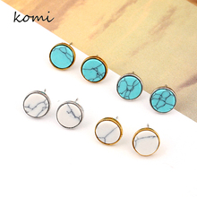 KOMi Fashion Stud Earrings For Women 2017 Vintage Gold Silver Color Earring Green White Stone Fashion Marble Jewelry O-137