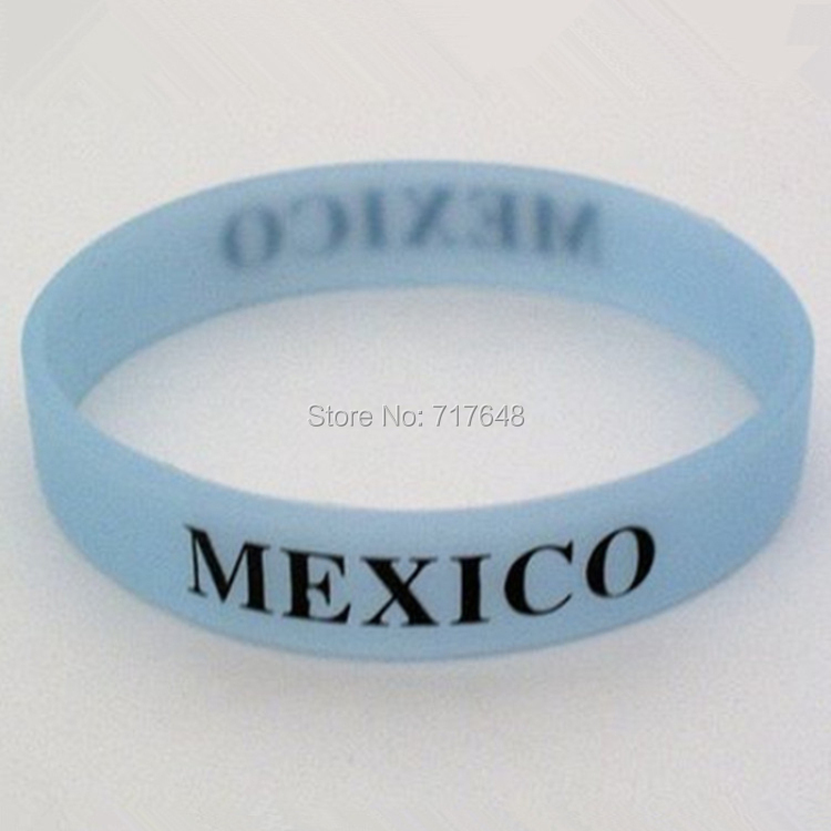 100pcs glow in the dark Mexico wristband silicone bracelets free shipping by FEDEX