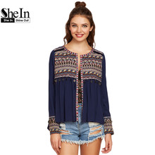 SheIn Women Long Sleeve Blouse Ladies Blouses 2017 Navy Embroidered Yoke And Cuff Coin Fringe Trim Vintage Blouse