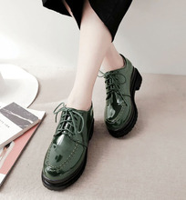 Patent leather women platform shoes round toe lace up lady casual heel shoes green 5.5cm height