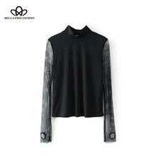 Bella Philosophy 2017 Autumn T-Shirt Women Grid Hollow Out Stand Collar Top Tees Female Sexy European Style Long Sleeve Tops(China)