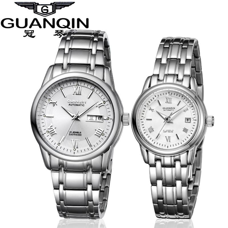 1 Pair GUANQIN Lovers Mechanical Watches Couple Automatic Watch Men Women Clock Auto Date Luminous Waterproof Brand Watch Men (3)