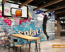 Custom 3D Graffiti art wallpaper mural  basketball never stop tv sofa boys children bedroom living room cafe bar restaurant