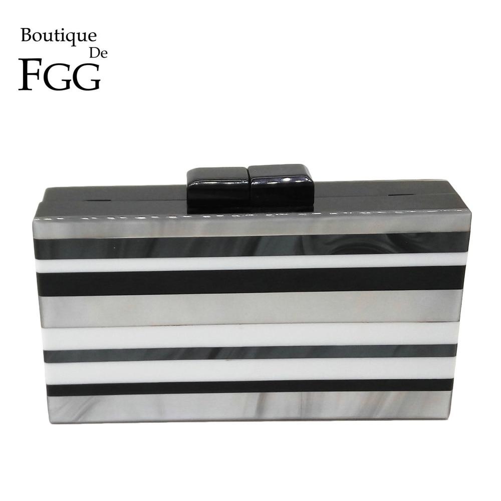 Brand Women Designer Black White Striped Acrylic Box Clutch Bag Hardcase Evening Wedding Prom Shoulder Handbag Clutches Bolsa<br><br>Aliexpress