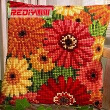 DIY Рукоделие Ремесла летние цветы Чехол для подушки крестом Отпечатано crewel Пряжа Наволочки вышивки крестом Наборы для Вышивка(China)