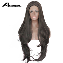 Anogol Long Natural Wave 2# Black Glueless High Temperature Fiber Synthetic Lace Front Wig For African American Women