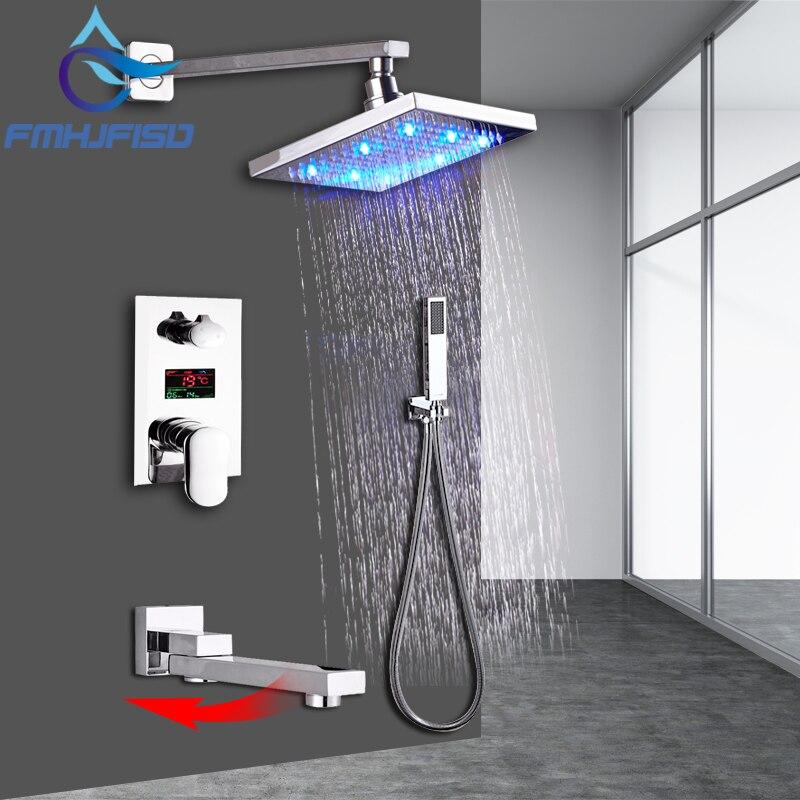 KEMAIDI Bad Dusche Wasserhahn 3-Funktionen Schwarz Digital Dusche Armaturen Set Regen Dusche Kopf 2-weg Digital Display mischbatterie