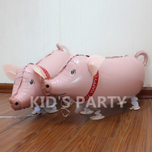 2017 New Animals walking pig balloon cute pink pig party decoration pet balloon for baby decoracao festa infantil free shipping