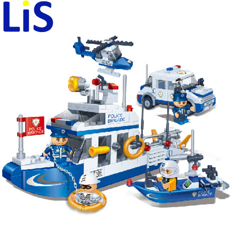 Lis New Original Banbao 8342 City Patrol Boat Building Blocks Sets Police Boats Model Assemble Bricks Toys S213<br>