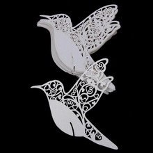 50Pcs/Pack DIY Laser Cut Lovely Birds Shape Table Name Number Place Card Wedding Wine Glass Cup Card Handmade Favors Supplies