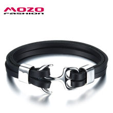 Buy MOZO FASHION Men Bracelet Double Layer Leather Rope Chain Charm Bracelets Stainless Steel Anchor Bracelet Male Jewelry MPH1064 for $4.21 in AliExpress store