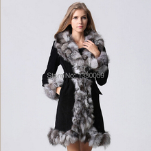 2016 New Fashion Women Long Fox Fur Coat Pig Leather And Fox Fur Collar Winter Warm Fur Coat Free Shipping AF138(China)
