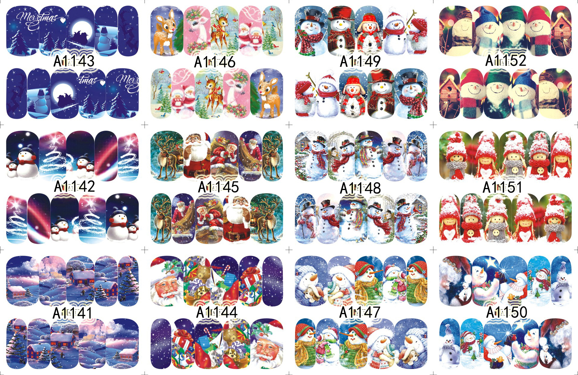12 Sheets/Lot Nail A1141-1152 Beauty Snow Christmas XMAS Full Cover Nail Art Water Wraps Sticker Decal For Nail(12 DESIGNS IN 1)<br><br>Aliexpress
