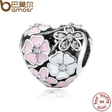 925 Silver Jewelry Poetic Blooms, Mixed Enamels & Clear CZ Heart Charms Fit Bracelet Accessories for Women PAS283(China)