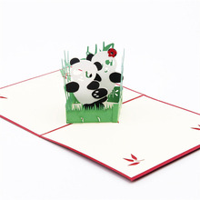 3D Laser Cut Handmade Cute Cartoon Panda Paper Invitation Greeting Cards PostCard Children Birthday Party Creative Gift Souvenir