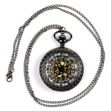 Cindiry 1pcs Retro Vintage Bronze Quartz Necklace watch Pendant Steampunk Chain Clock Pocket Watches Spider Web Hollow P20
